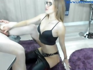 Blond Wife In Leather Leggings Spread  - bisexual