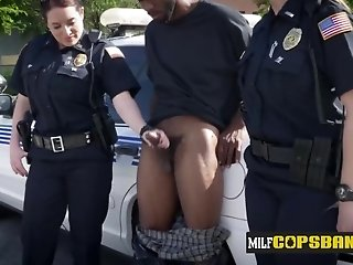 Heavy-Breasted breasty cops love kissing BIG BLACK COCK