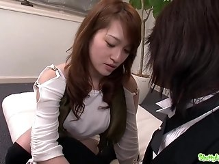 Gorgeous Japanese babe gets very nasty with her boyfriend - blowing off